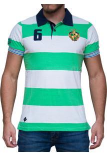 2ad2d8caa8 Camisa Polo Kevingston Brighton Rugby Manga Curta Listrada Verde