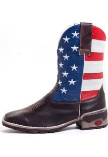 Bota Fran Boots Texana Country Cano Longo Marrom Usa