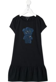 Emporio Armani Kids Vestido Teddy Bear Com Paetês - Azul