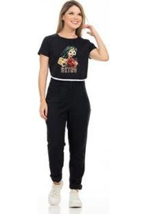 Camiseta Cropped Clara Arruda Viés Estampada 18020020 Feminina - Feminino-Preto