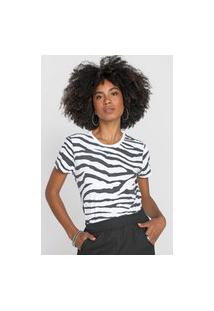 Camiseta Morena Rosa Zebra Branca/Preta