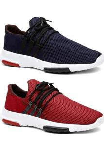 Kit 2 Pares Tênis Sneaker Masculino Leve Conforto - Masculino-Azul+Vermelho