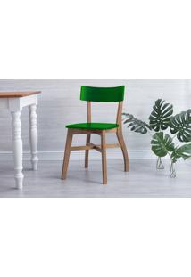 Cadeira Para Sala De Jantar Bella - Amêndoa E Verde Bandeira 44X51X82 Cm