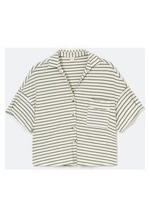 Camisa Manga 3/4 Em Viscose Com Estampa Listrada | Marfinno | Branco | Pp