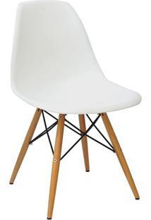 Cadeira Eames Pp Branca Base Madeira