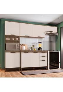 Cozinha Compacta Milena 7 Pt 3 Gv Marrom Escuro E Champanhe