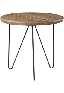 Mesa Lateral Tampa Driftwood Com Base Grafite 60 Cm (Larg) - 46298 - Sun House
