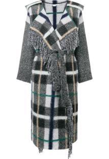 Stella Mccartney Cardigan Oversized Xadrez - Cinza