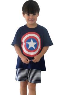 Pijama Curto Infantil Inspirate Capitão América - Masculino-Marinho+Vermelho