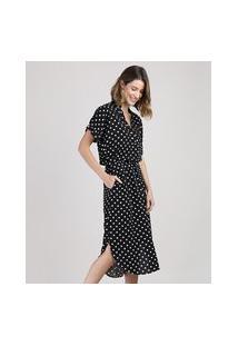 Vestido Feminino Midi Estampado De Poá Manga Curta Preto