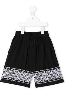 Douuod Kids Wide Leg Embroidered Cuff Trousers - Preto