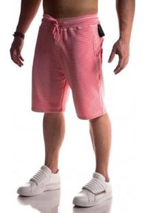 Bermuda Top Fit Moletom Advance Masculina - Masculino-Rosa
