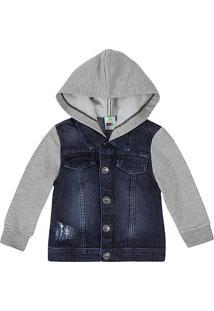 3c5eee3ab01e3 Jaqueta Jeans Bebê Menino Com Mangas E Capuz Em Malha De Algodão Puc