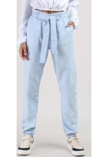 Calça Jeans Juvenil Clochard Jogger Com Laço Azul Claro