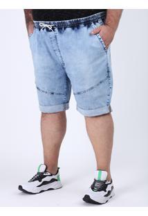 Bermuda Jeans Masculina Plus Size Marmorizada Relaxed Com Recorte Azul Claro