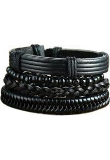 Bracelete Artestore Em Couro Pulseira 4 Em 1 Masculina - Masculino-Preto