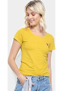 Camiseta Top Moda Bordado Coração Feminina - Feminino-Amarelo