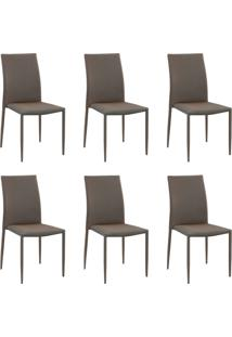 Kit 6 Cadeiras Decorativas Sala E Cozinha Karma Poliã©Ster Dourada Com Preto - Gran Belo - Dourado - Dafiti