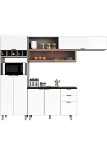 Cozinha Compacta 3 Peças C/ Paneleiro Flair-Poliman - Fumê / Branco