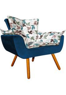 Poltrona Decorativa Opala Composê Estampado Floral D68 E Peach Azul Marinho - D'Rossi