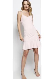 2f5be57d6254 Vestido Com Trançado & Amarração - Rosa Claro - Blesbless