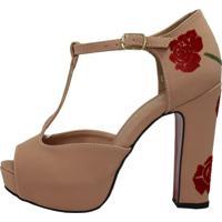 6a3ffe538 Sandália Week Shoes Meia Pata Salto Grosso Nude Floral