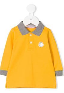 Moncler Kids Camisa Polo Mangas Longas - Amarelo
