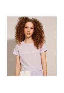 """Camiseta De Algodão Com Estampa """"Mademoiselle"""" Manga Curta Lilás"""