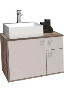 Gabinete Para Banheiro 60Cm Mdf Caeté Nude E Tamarindo Sem Cuba 60X43,2X41,5Cm - Cozimax - Cozimax
