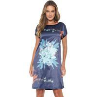 041631cd4d Kanui. Vestido Mercatto Curto Floral Azul-Marinho