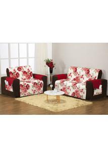 Protetor Sofa Estampado 3 E 2 Lugares Floral Vermelho Enxovais Aquarela