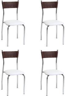 Conjunto Com 4 Cadeiras Vera Marrom E Branco