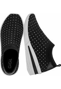Tãªnis Sneaker Gigil Calce Fã¡Cil Anabela Hotfix Preto - Preto - Feminino - Dafiti
