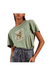 Camiseta Colcci Estampada Verde Feminino