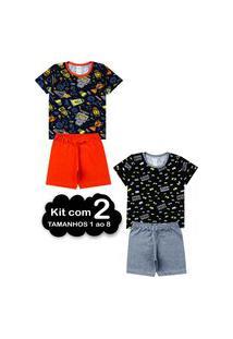 Kit 2 Pijama Verão Infantil 1 Ao 8 Algodão Masculino - Manga Curta Multicolorido