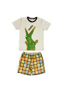 Conjunto Pijama De Crocodilo Douvelin Bege