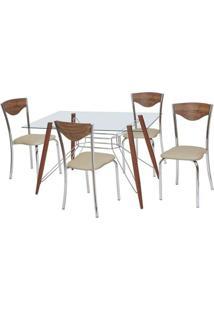 Conjunto De Mesa Com 4 Cadeiras Bárbara Corino Marrom E Cromado - Única