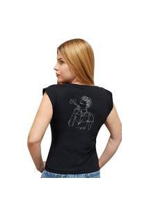 Camiseta Casual 100% Algodão Estampa Frida Avalon Cf01 Preta