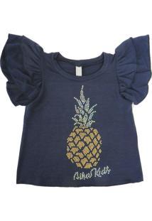 Camiseta Gira Baby Kids Infantil Abacaxi Azul-Marinho