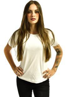 Camiseta Rich Young Baby Look Básica Lisa Malha Branca