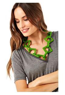 Colar Elemento Geométrico Verde Coco