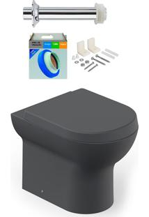 Kit Bacia Sanitária Convencional Com Assento Nexo Grafito + Conjunto De Fixação, Tubo De Ligação E Anel De Vedação - Roca - Roca