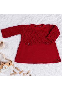 Vestido Bebê Tricot Vermelho Laços M Grão De Gente Vermelho