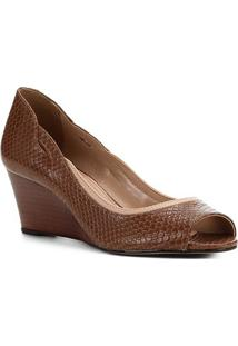 Peep Toe Couro Shoestock Anabela Snake - Feminino-Marrom Claro