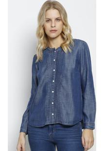a134a21a2c6bd Camisa Jeans Com Drapeados - Azul Escurolevis