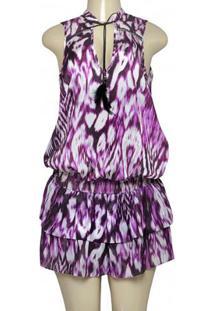 Vestido Fem Colcci 440105101 Off White/Roxo