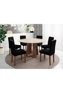 Conjunto De Mesa De Jantar Com Tampo De Vidro Isabela E 6 Cadeiras Amanda Ii Veludo Off White E Preto