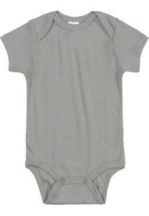 Body Para Bebê Manga Curta Cinza
