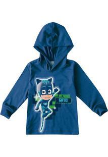 Camiseta Menino Gatoâ®- Azul Escuro & Verde- Primeiromalwee