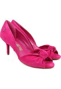 Peep Toe Couro Santa Lolla Salto Fino - Feminino-Pink